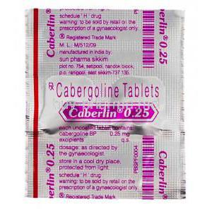 Caberlin 0.25, Generic Dostinex,  Cabergoline Packaging