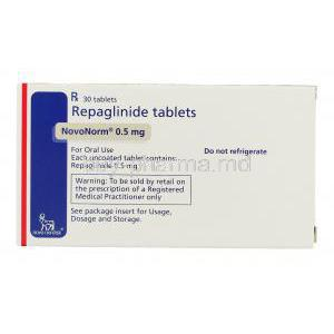 Novonorm, Repaglinide 0.5 mg box information