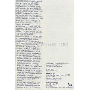 Novonorm, Repaglinide 0.5 mg information sheet 8