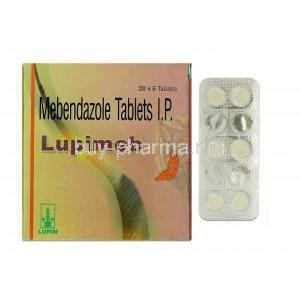 Lupimed, Generic Vermox, Mebendazole, 100 mg, Box and Strip