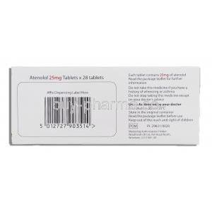Atenolol 25 mg box information