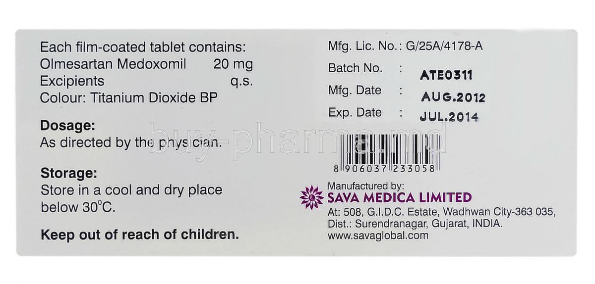 Olmezest h 20 mg or 12.5 mg gel