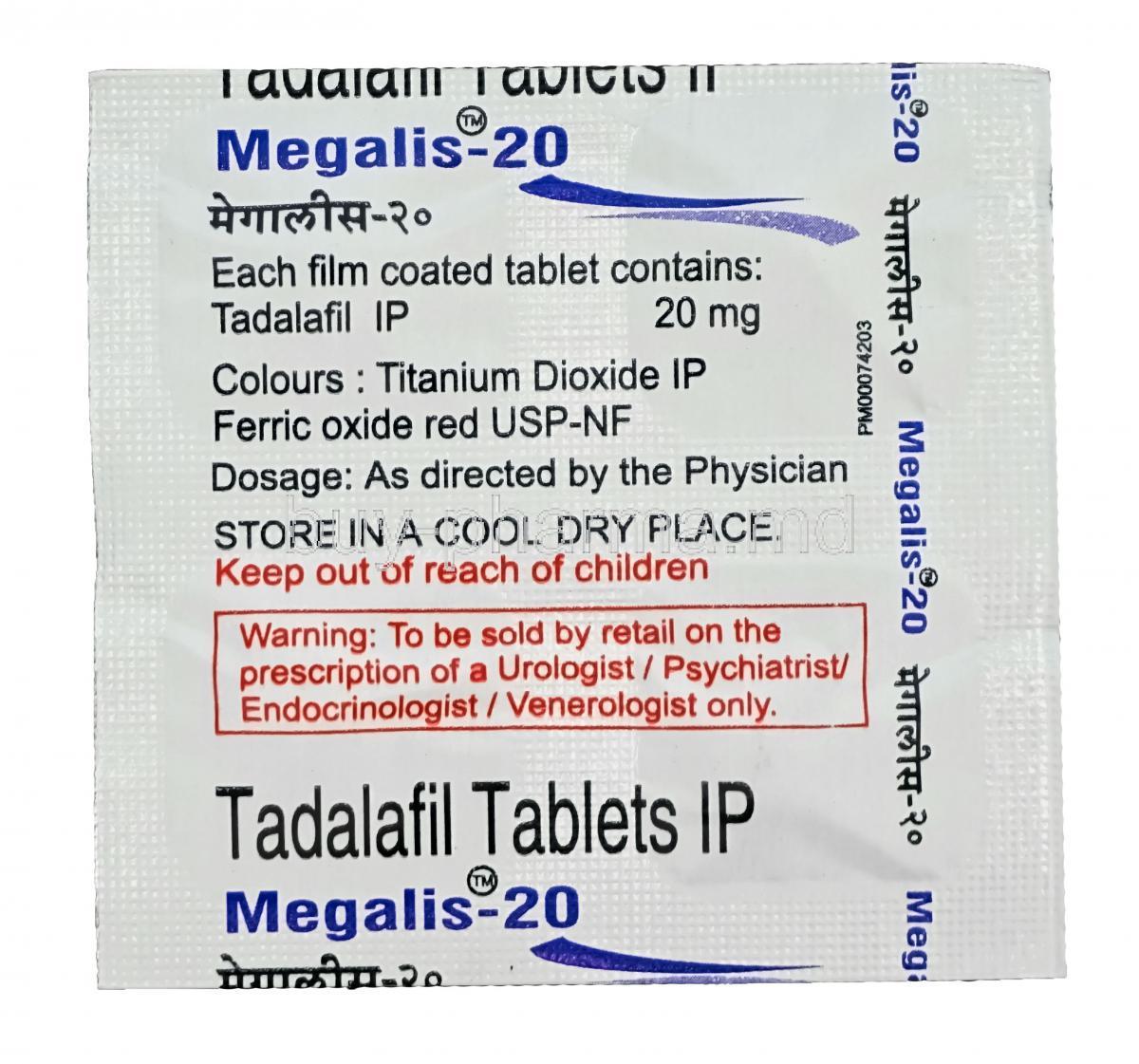 Tadalafil tablets ip megalis 20 dosages for cialis