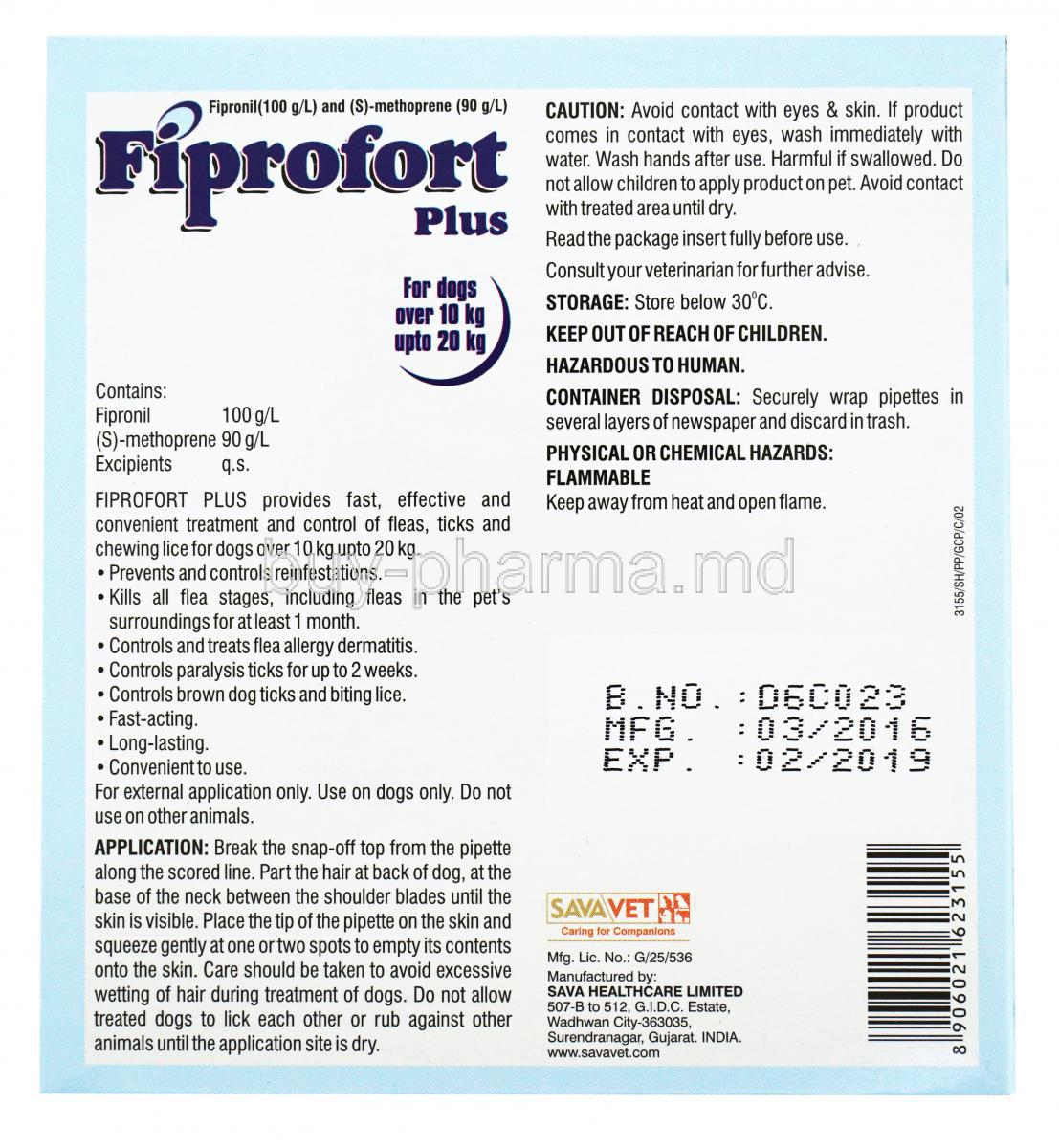 Buy Fiprofort Plus Spot On Solution For Dogs Generic