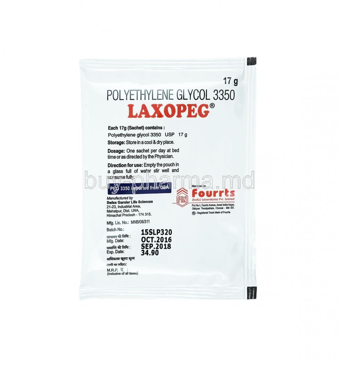 Buy Laxopeg Powder Polyethylene Glycol 3350 Laxopeg